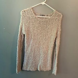 Vince. Loose Knit Fuzzy Sweater Gray Metallic